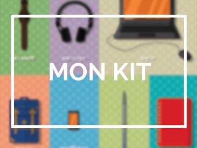 kit infographiste ordinateur pc sac casque montre stylo crayon note papier